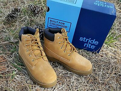 Stride Rite Size 11.5 M Boys Brown Leather BECKETT Leather Hiking Boots NEW