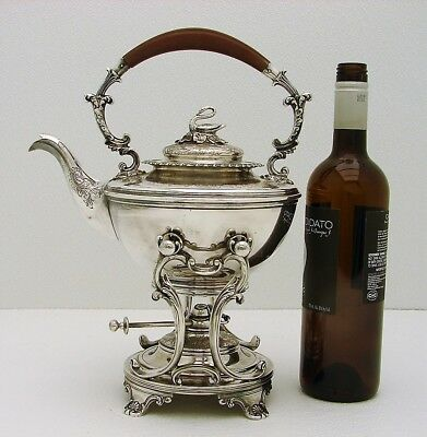 Ellis Barker Silver Co. Tipping Tea Kettle w Stand Figural Swan Finial & lamp