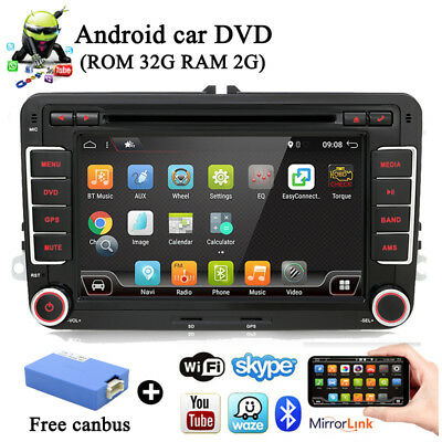 Autoradio 7'' Android 7.1 For VW Passat Doppel 2 DIN HD GPS NAVI DAB+ DVD Player