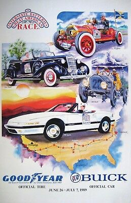 Buick - Great American Race 1989 - GoodYear - Large Vintage poster PRISTINE L@@K