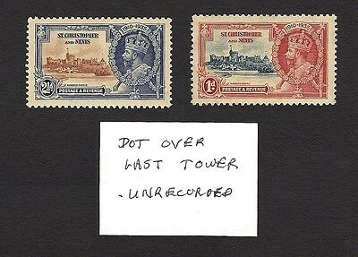 St Kitts Nevis 1935 Silver Jubilee DOT OVER TOWER constant variety x 2 SEE GUM