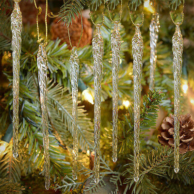 Clear Glass Icicle Ornaments 24 Pc Christmas Tree Decoration Holiday Xmas Decor