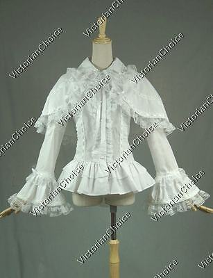White Vintage Victorian Women Blouse Shirt Lolita Top Cape Theater Wear B019 XXL