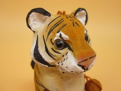 """TIGER Carved Wood Christmas Tree Ornament  Discovery Channel Store 4.5"""" x 1.5"""""""