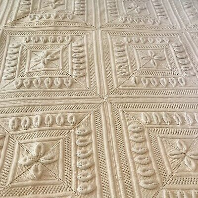 "Antique HM French Heavy Cotton Knit Quilt Coverlet*Paris Cottage Chic*82"" X 75"""