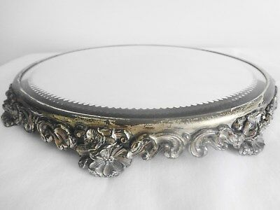 """Fabulous Old Vintage Large 11"""" Plateau Mirror w/ 8 Ornate Metal Feet For Display"""