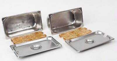 Two NSF 1/3 Size Stainless Steel Steam Table Pans w Bottom Drain Trays & Covers