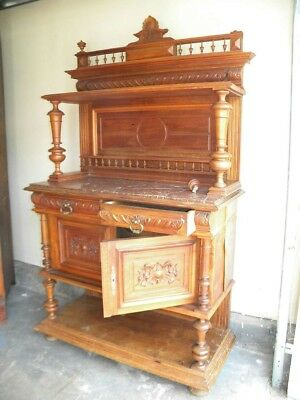 Antique Server Sideboard Buffet With Marble Top Furniture
