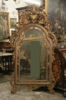 Mirror Wood Paint And Golden, Period Nineteenth Century / Mirror Antique