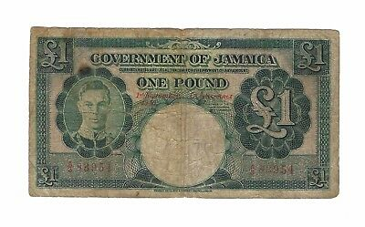 1940 Jamaica 1 Pound, Very Scarce 1 Year Type Red S/N P-40a, None in PMG REPORT!