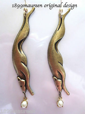 Art Deco Art Nouveau earrings greyhound dog pearl drop iconic 1920s 1930s style