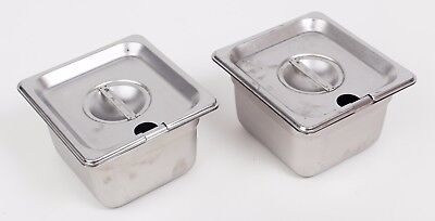 Two 1/6 Size Stainless Steel Steam Table Pans with Covers NSF