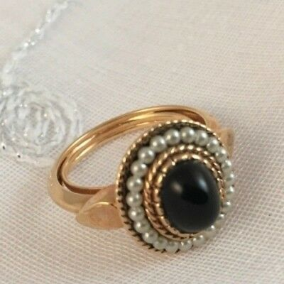 Vintage Signed Avon Black Cabachon Seed Pearls RING Goldtone Size 6