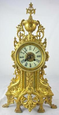 Lovely antique large French gilt pierced bronze 8 day bell strike mantle clock