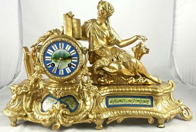 Antique French Japy Freres 19th c Figural & Sevres porcelain 8 day mantle clock