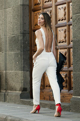 Sold Out Rare Zara Backless White Long Jumpsuit Bloggers Size S Small Uk 8