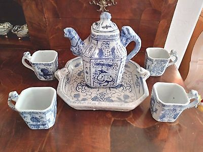 Vintage Flo Blue- Chinese Dragon Tea Service with Tray
