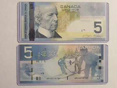 1 new $5 note BANK of CANADA 2010 five 5 dollars HOCKEY winter scene banknote