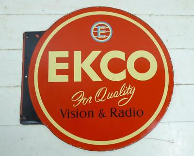 "Vintage ~ c1940 ~ ""EKCO For Quality Vision & Radio "" Double Sided Enamel Sign #1"