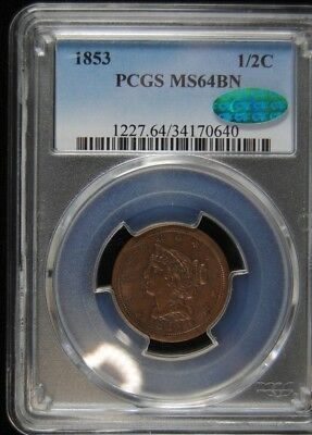 1853 Braded Hair Half Cent Pcgs Ms-64 Brown (Cac)