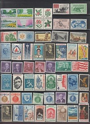 Us,1960's Lot Of 56 Different Stamps Vintage,mid-Century Collection ,mint Nh,vf