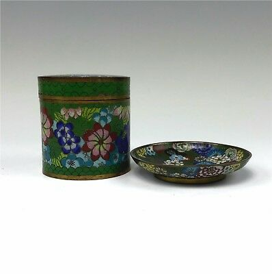 Antique Chinese Green Cloisonne Jar & Small Dish