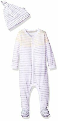 Burts Bees Baby Baby Footed Coverall and Hat Set, Fog Watercolor Stripe, 6-9