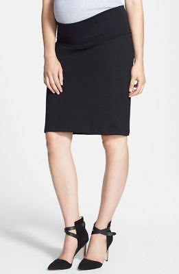 New Queen Mum Maternity Black Ponte Pencil Skirt, Career Suit Wear Small US= 6 8