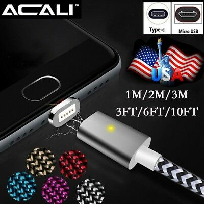 US 3/6/10FT Magnetic Charger Type C USB-C Micro USB Connect Charging Data Cable