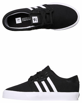 New Adidas Originals Boys Kids Seeley Shoe Rubber Synthetic Black