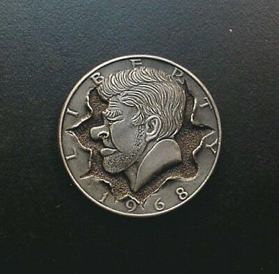 Hobo Nickel '' Popping -Out '' 1968 kennedy half dollar