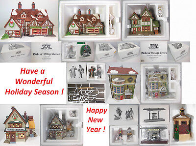 Dept 56 Dickens Village Collection #4, Qty 11 Items, 4 Buildings & 7 Accessories