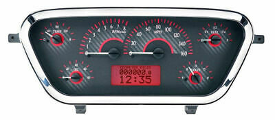 Dakota 53 54 55 Ford Pickup Truck Analog Gauges Carbon Red VHX-53F-PU