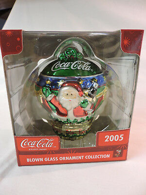 2005 COCA-COLA SANTA CLAUS Blown Glass Ornament - NIB