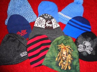 Huge Lot 10 Mens Beanies Stretch Knit Hats Caps Winter Slouch Baggy Skate Skull