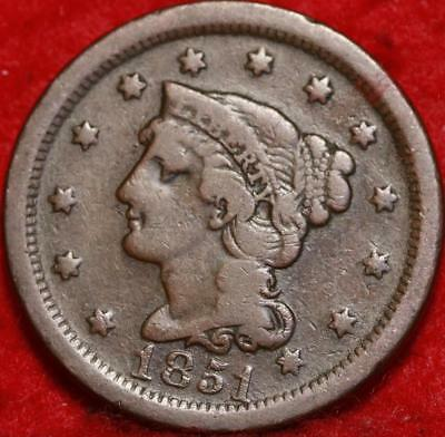 1851 Philadelphia Mint Copper Braided Hair Large Cent Free S/H