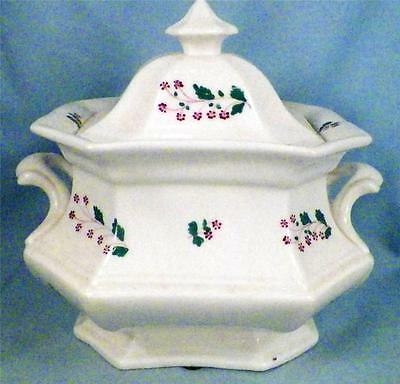 Antique Sprig Sugar Bowl Soft Paste 1820s As Is Condition Nice Display