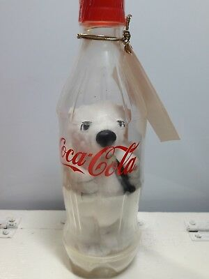 Coca Cola White Plush Bear in Plastic Bottle bank never opened has tags