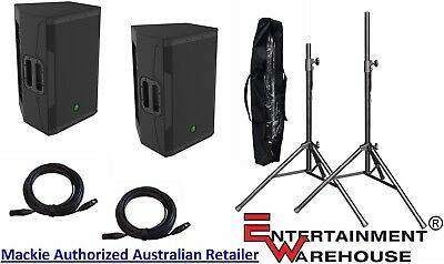 """Pair Mackie SRM550 - 15"""" Powered Speaker 1600w + Stands with Bag + Cables"""