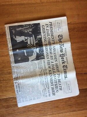 1963 The New York Times President's Assassin Shot Full Newspaper
