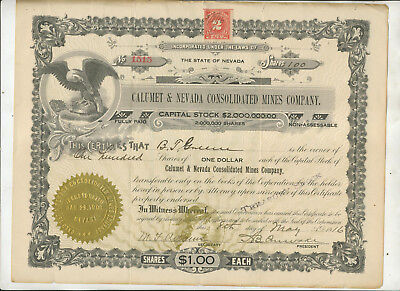 1916 Calumet & Nevada Consolidated Mines Company Nevada Stock Certificate