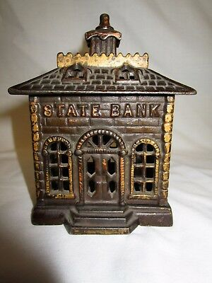 "Vintage Cast Iron State Bank 5 5/8"" Tall"