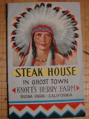 Original 1950s KNOTTS BERRY FARM Steak House Menu-Buena Park, Calif.