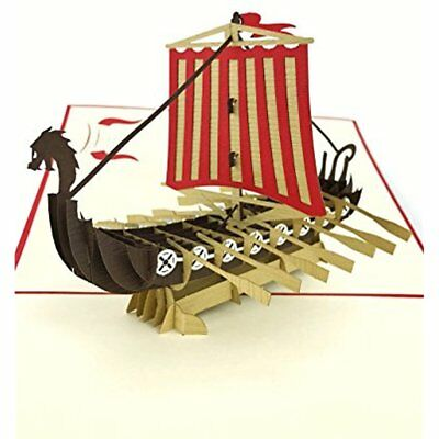 Poplife Colorful Viking Ship 3D Pop Up Card All Occasions Travellers Axe Gift