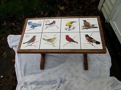 "Fantastic Hand Made Table With Bird Tiles Signed & Dated 1976 "" One of a Kind"""