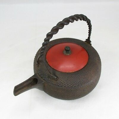 D062: Real old Japanese iron kettle for SAKE called CHOSHI with popular ARARE