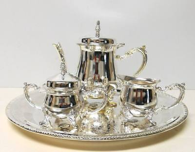 MIB GODINGER Silver Art Co SILVER PLATED 4pc MINIATURE COFFEE TEA SET