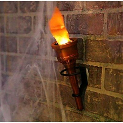 Pair 2 Torch Fake Flame Light Halloween Decor Prop Hand Held Wall Mounted New