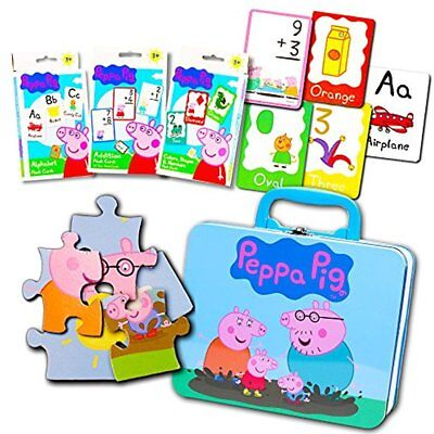 Peppa Pig Lunch Box Set Toddlers Kids -- Deluxe Tin With New Gift