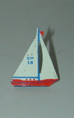 Cracker Jack Prize Lithographed Tin Sailboat Standee Dowst Circa 1930